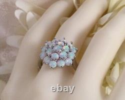 Vintage Bijoux Bague En Argent Sterling Opales Antique Deco Bijoux Extra Large V