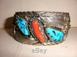 Vintage Bracelet Navajo Grand Men`s Corail Turquoise En Argent Sterling M Thomas Jr
