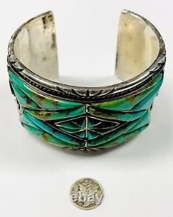 Vintage Celina Yazzie Navajo Argent Sterling Turquoise Bracelet Grand 245 Grams