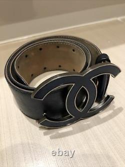 Vintage Chanel Double C Logo Grande Ceinture Marine Ceinture Argent