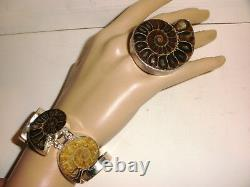 Vintage Charles Albert Sterling Silver Statement Grand Anneau Fossile 7 Bracelet