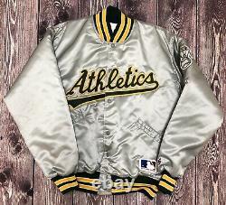 Vintage Felco Mlb Oakland As Athletics Satin Jacket Silver Large Euc