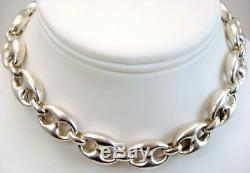 Vintage Fine Jewelry Gucci Mariner Grand Collier En Argent Sterling Lien 24