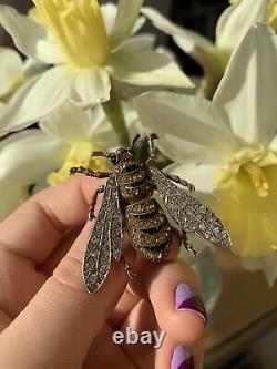 Vintage Gemset Grand Bug Bee Brooch En Argent Sterling