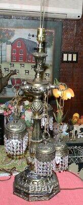 Vintage Gothique Style 6 Light Pendentif Crystals Lampe De Table Chandelier Lampe Ornée