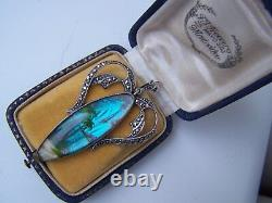 Vintage Grand Sterling Argent & Marcasite Butterfly Wing Pendentif Tlm Thomas Mott
