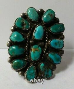 Vintage Grand Zuni Indien Argent Multi Turquoise Cluster Taille 10 Bague