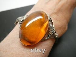 Vintage Grande Amber Ornate Leaf Sterling Silver Oval Hinged Bangle Bracelet 7