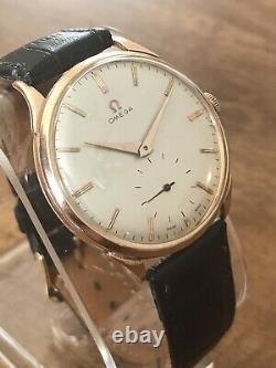 Vintage Grande Taille Omega 18k Solid Rose Gold Manual Wind 15j Dress Mens Watch
