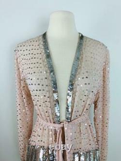 Vintage Judith Ann Ballet Slipper Pink Silver Sequin Silk Jacket Belt Perlé S M