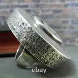 Vintage Large & Bold Aztec Design Mexicain Sterling Silver Statement Ring