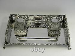 Vintage Large Solid Silver Inkwell / Ink Stand Londres 1929