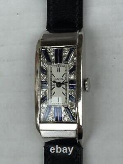 Vintage Mens Large Titus 1930s Platine Massif Diamond & Sapphire Paved Dial