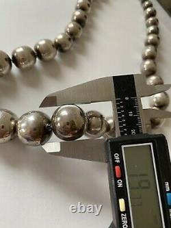 Vintage Mexique Argent Sterling Gradué Large (20mm10mm) Collier De Perles De Balle
