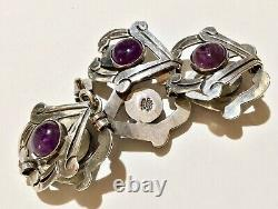 Vintage Mexique Taxco Beto Sterling Silver & Amethyst Large Link Bracelet