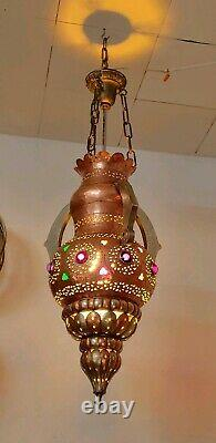 Vintage Moroccan Pierced Solid Brass & Silver Hanging Swag Pendentif Lampe