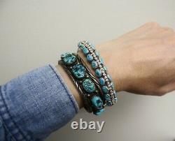 Vintage Native American Navajo Turquoise Argent Sterling Bracelet Grande Taille