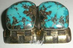 Vintage Navajo DM Begay Argent Sterling 14k Or Grandes Boucles D'oreilles Clip Turquoise