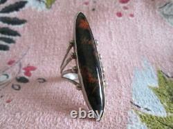 Vintage Navajo Sterling Silver Large Long Sleek Old Pawn Petrified Wood Ring
