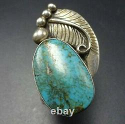Vintage Navajo Sterling Silver Turquoise Ring Taille 8.5 Grande Feuille Appliquée