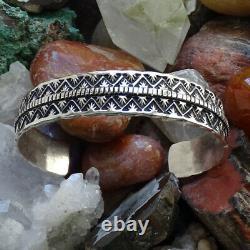 Vintage Navajo T. Jon Sterling Argent Grand Bracelet De Cuff Tillie Jon Stamp Work