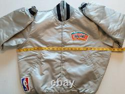 Vintage Nba San Antonio Spurs Veste Starter Early 90s, Argent Avec Fiesta Logo