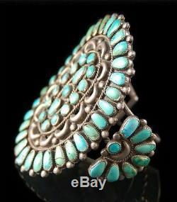 Vintage Old Pawn Lrg Sterling Silver Turquoise Bracelet Cluster C40 / 50