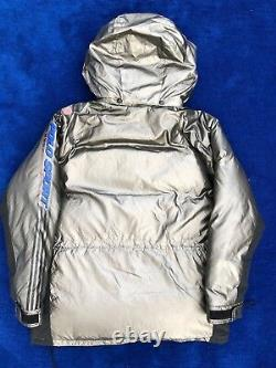 Vintage Polo Sport Down Puffer Jacket Metallic Silver Mens Taille Grandes Années 90 Rare