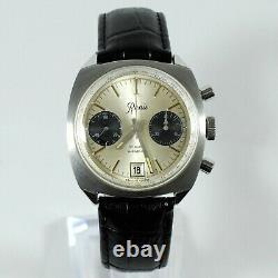 Vintage Renis Chronographe Date Manual Wind Panda Cadran Ss Grande Montre De 37mm Gents