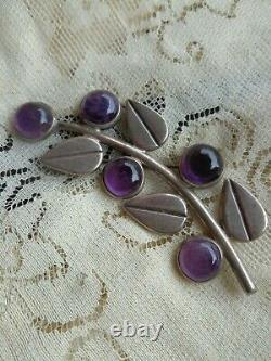 Vintage Signé Hector Aguilar Mexican Silver Art Déco Amethyst Floral Large Pin