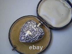Vintage Solid Sterling Silver Grand Coeur 3d Chatelaine Parfum Bouteille Pendentif