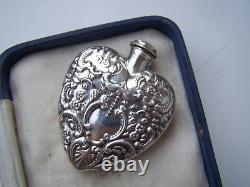 Vintage Solid Sterling Silver Large 3d Coeur Chatelaine Parfum Bouteille Pendentif
