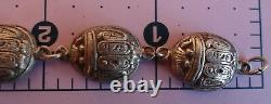 Vintage Sterling Silver Egyptian Revival Large Scarab Link Bracelet