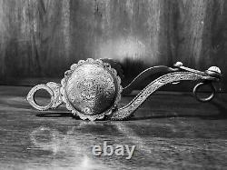 Vintage Sterling Silver Inlay Bit Large Concho S Cheek Med. Port Mp Maker Marqué