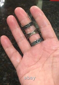 Vintage Sterling Silver Large Full Finger Armor Ring