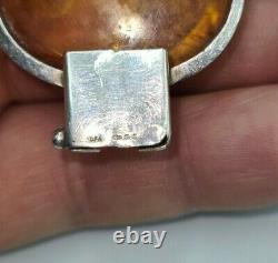 Vintage Sterling Silver Large Oval Amber Cabochon Set Bracelet