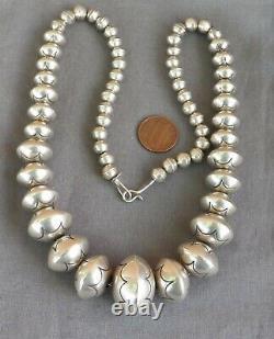 Vintage Sterling Silver Native American Signé Grand Collier De Perles Estampillées 22 +