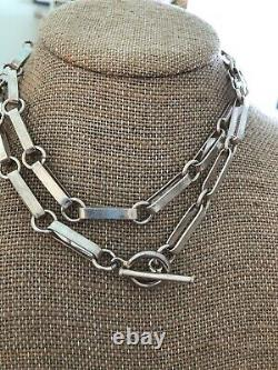 Vintage Taxco Mexique Sterling Silver Fancy Grand Collier Toggle Clip Papier