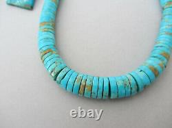 Vintage Thick Large Turquoise Heishi Disc Navajo Sterling Silver 17.25 Collier