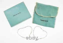 Vintage Tiffany & Co Elsa Peretti Argent Sterling Grande Boucles D'oreilles À Coeur Ouvert