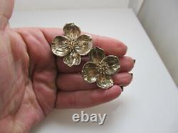 Vintage Tiffany & Co Large Dogwood Boucles D'oreilles Clip Sterling Silver Designer Signé
