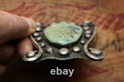 Vintage Unique Fait À La Main Argent Sterling Grande Ceinture Turquoise Boucle