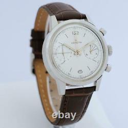 Vintage Zenith Chronograph Cal 146 D Manuel Wind Steel Large 37mm Gents Watch