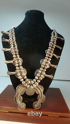 Vtg Large Heavy Sterling Silver Turquoise Squash Blossom Collier 25 S 1950